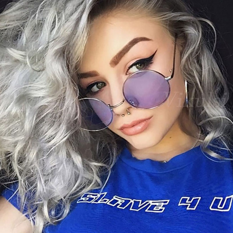 Round Sunglasses Clear-Lens Yellow Blue Green Women For Small Hip-Hop Red