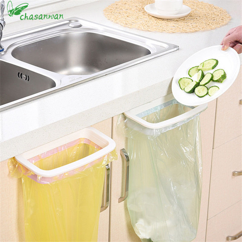 1 Pcs Kitchen Gadgets Cupboard Door Back Trash Rack Storage Garbage Bag Holder Hanging Kitchen Cabinets Storage Towel Shelf.Q