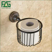 FLG Parete Toilet Paper Holder Nero Ottone Porta Asciugamani di Carta Bagno Wc Accessori