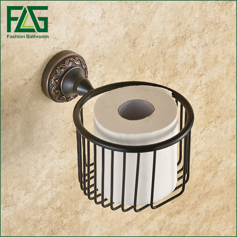 FLG Wall Mounted Toilet Paper Holder Black Brass Paper Towel Holder Bathroom Toilet Accessories купить
