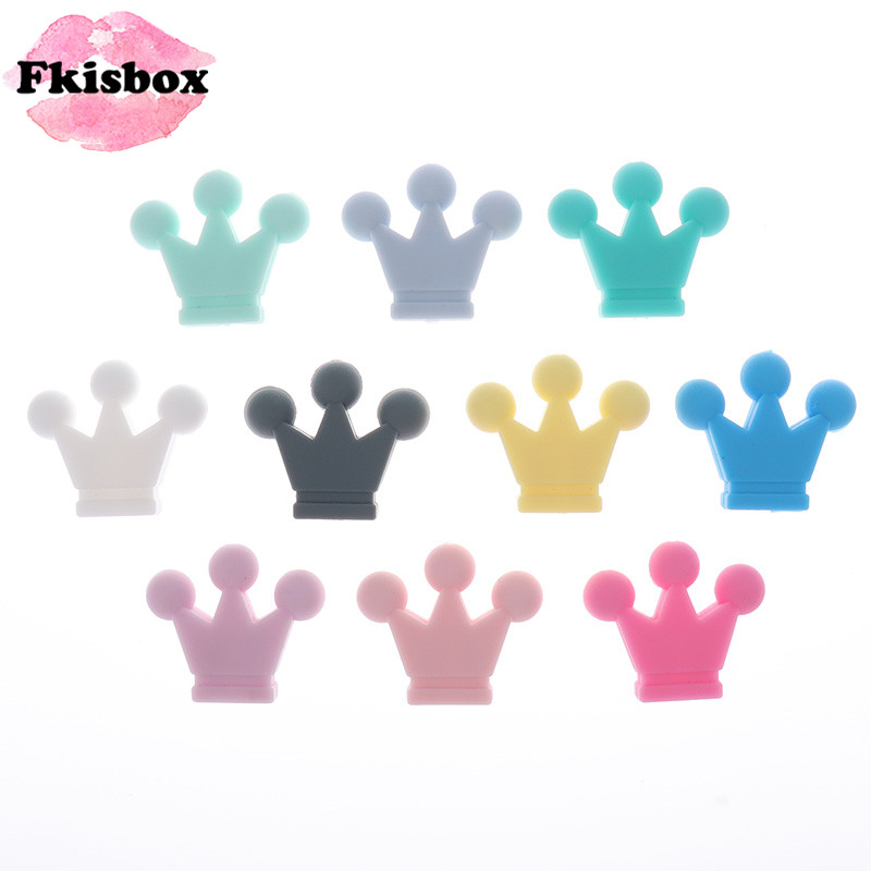 10pcs Food Grade Silicone Crown Beads Baby Teether Necklace Bead Infant Baby Chewing Jewelry Accessories For DIY Teether Toy