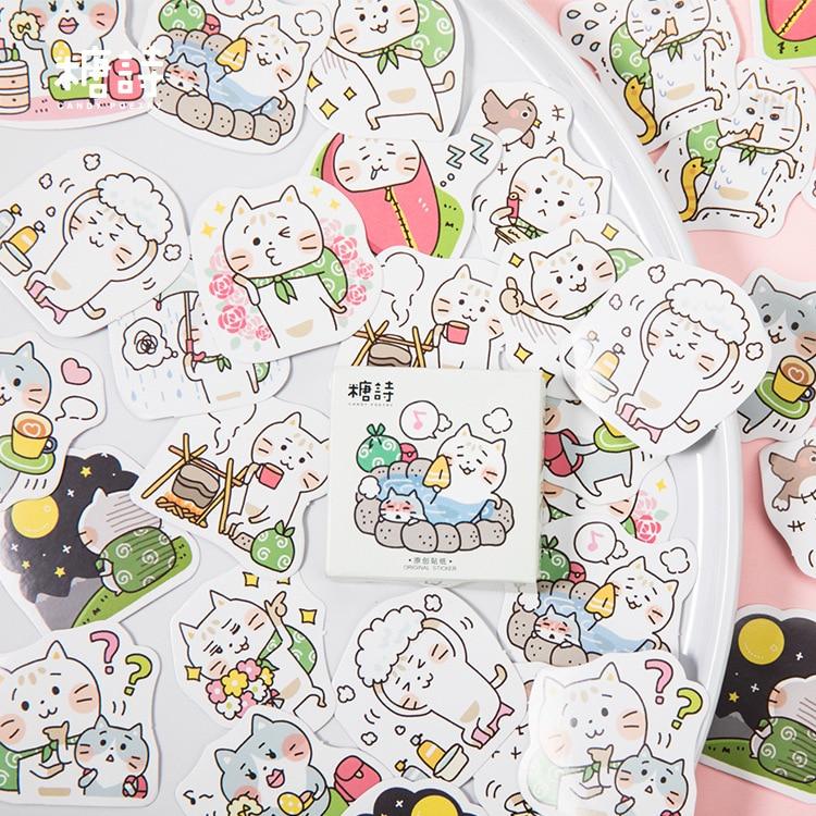 45pcs/pack Cat Fun Journey Decorative Stationery Stickers Set Scrapbooking Diy Diary Album Stick Label