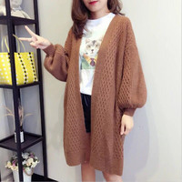 White Brown Oversized Long Coat 2018 Autumn Winter Women Long Knitted Knitwear Jumper Cardigans Elastic Striped Maxi Sweaters