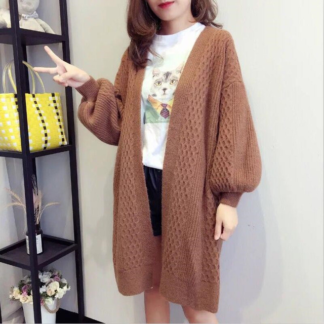 deb61b59620 White Brown Oversized Long Coat 2019 Autumn Winter Women Long Knitted  Knitwear Jumper Cardigans Elastic Striped Maxi Sweaters