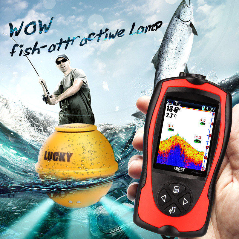 Depth Wireless Sonar Fish Finder FF1108-1 CWLA Lucky FindFish Echo Sounders Lure <font><b>Fishfinder</b></font> Bite Alarms <font><b>Deeper</b></font> FindFish Pesca image
