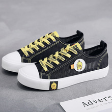 2019 Summer Mesh Canvas Shoes for Women Breathable Sneakers Fashion Lace-up Black Casual Vulcanized Girl Flats