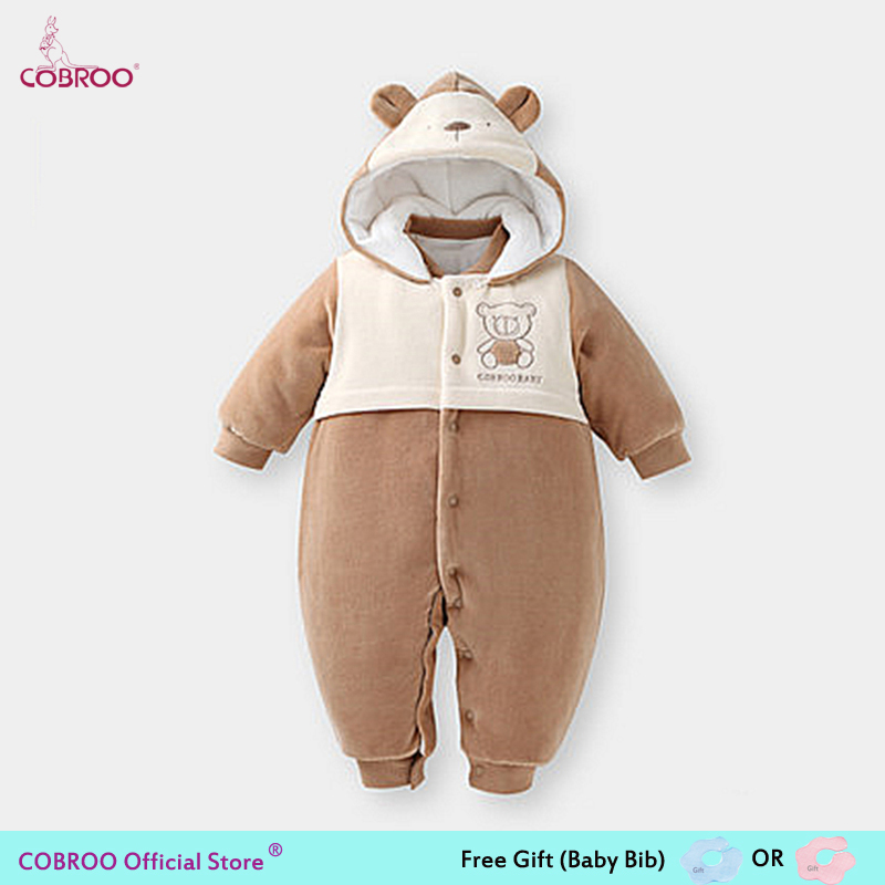 COBROO Thick Baby Romper Winter 2018 100% Cotton 0 6 Month Infant Clothes Baby Girl Boy Jumpsuit Hooded Kid Outerwear 750012