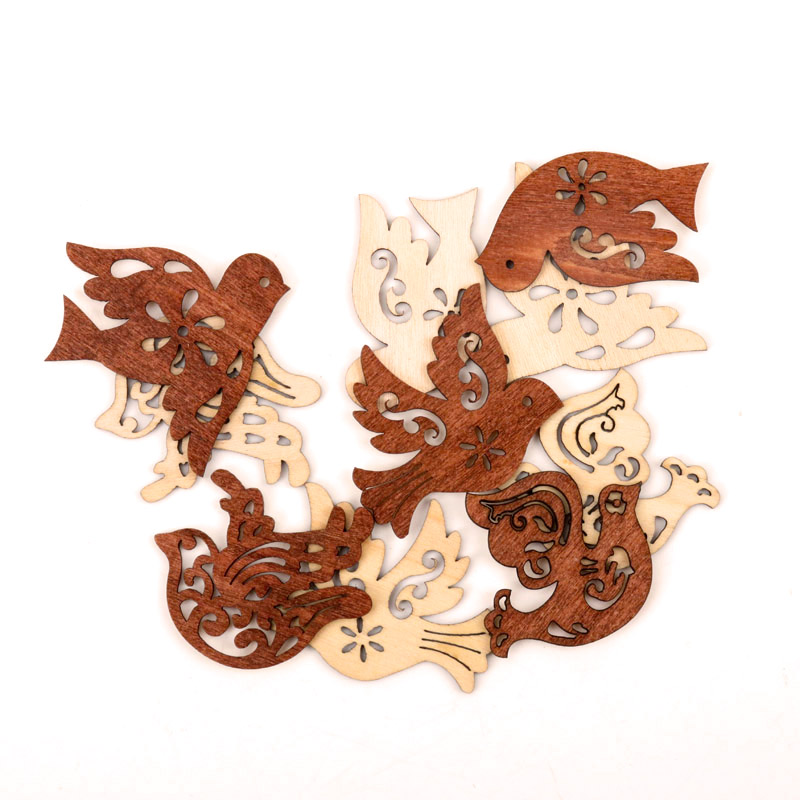 Cute Pigeon Pattern Wooden Scrapbooking Paitning Craft Handmade DIY Accessory Home Decoration DIY 44-50mm 10pcs MZ210