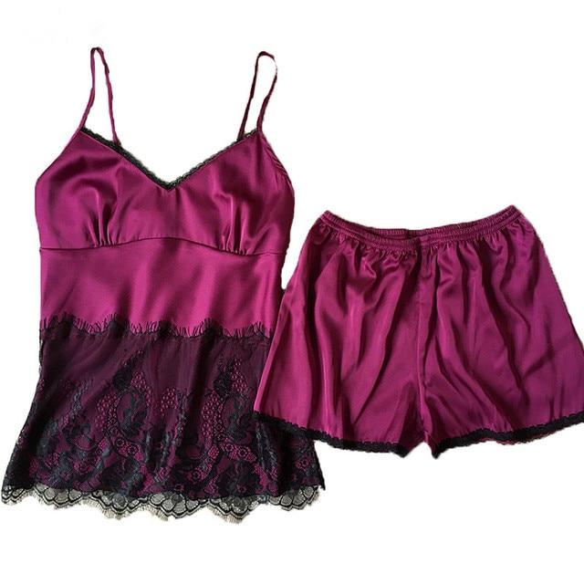 Women Sexy Satin Cami and Shorts Set Black Lace Nightgowns Comfy Pajamas Pretty Nighties Artificial Silk Sleepwear Sets