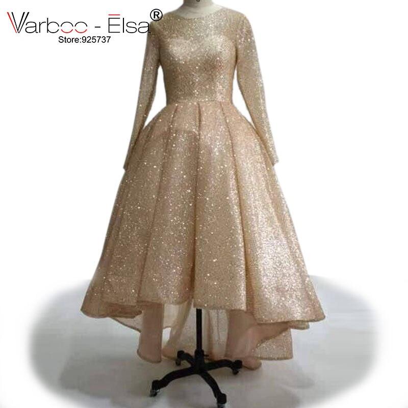 VARBOO_ELSA Avant Court Long Retour Robes De Soirée Or Rose Scintillant Robes De Bal 2017 Personnalisé De Haute Qualité Musulman Femmes Formelle Robe