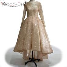 VARBOO_ELSA Vorne Kurze Lange Zurück Abendkleider Rose Gold Sparkly Prom Kleider 2017 Benutzerdefinierte Hohe Qualität Muslimische Frauen Formale Kleid