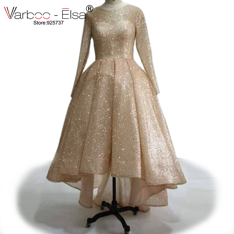 VARBOO_ELSA Front Short Long Back Evening Dresses Rose Gold Sparkly Prom Gowns 2017 Custom High Quality Muslim Women Formal Gown
