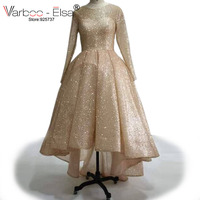 VARBOO ELSA Front Short Long Back Evening Dresses Rose Gold Sparkly Prom Gowns 2017 Custom High