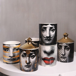 Lady skull Candle Holder Diy Handmade Candle Jar Female Face Storage Bin Box Ceramic Craft Home Decor Jewelry Container with Lid(China)