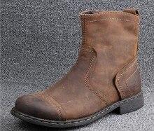 Hohe Qualität Echtes Leder Männer Stiefel Zapatos Hombre Britischen Stil Männer Schuhe beleg-auf Winterschuhe Chaussure Homme Männer boote