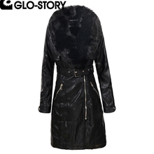GLO-STORY 2017 Women Faux Fur Collar Winter Long Leather Coat Women Fashion Thick Padded Jacket Coats WPY-5081 5705