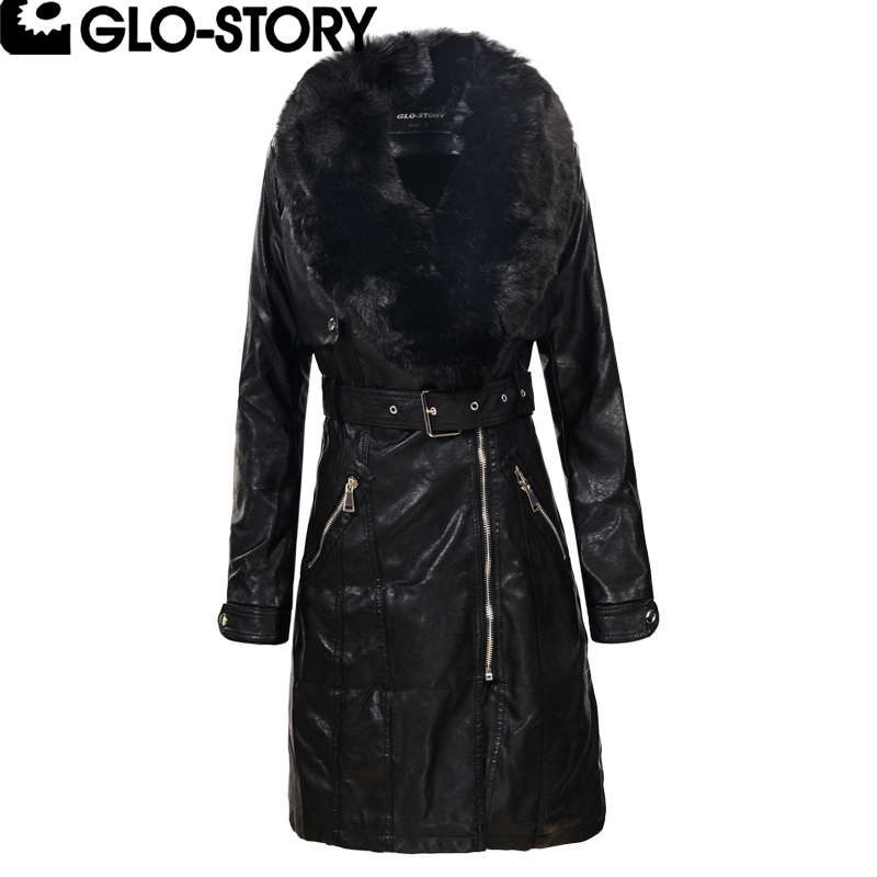 GLO-STORY 2018 Women Faux Fur Collar Winter Long Leather Coat Women Fashion Thick Padded Jacket Coats WPY-5081 5705