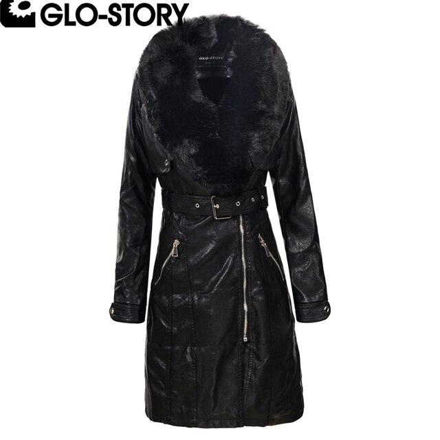 67b8b48732ccb GLO-STORY 2018 Women Faux Fur Collar Winter Long Leather Coat Women Fashion  Thick Padded