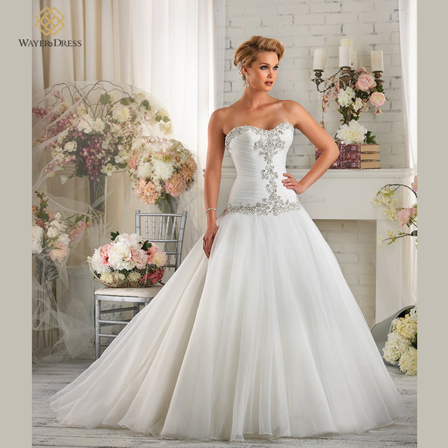 Lace Waisted Wedding Gowns Crystal