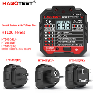 HT106B HT106D HT106E Digital display socket tester plug polarity phase check detector Voltage test multi-function electroscope(China)