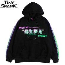 Men Hip Hop Hoodie Sweatshirt Drunk Illusion Chinese Character Hoodie Streetwear Casual Black Hooded Pullover Cotton Autumn 2018