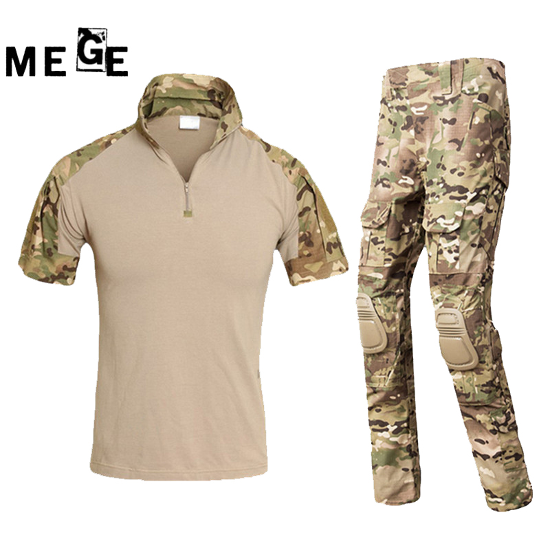 MEGE Summer Tactical Army Suit, Military Camouflage Hunting Airsoft Paintball Combat Assault Shirt Plus Pants With Knee Pads