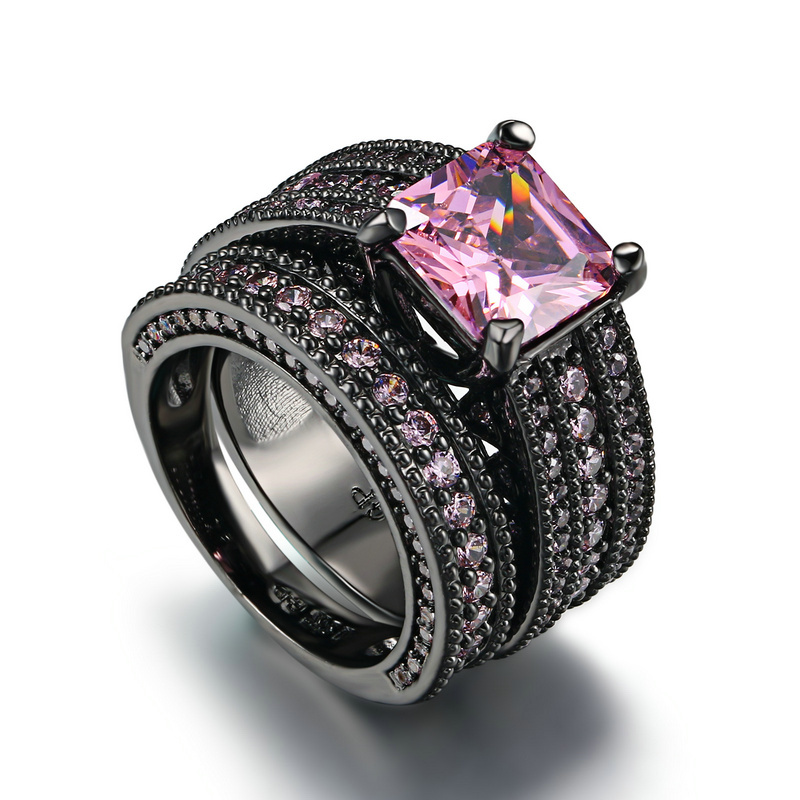 Black and Pink Crystal Ceramic Ring
