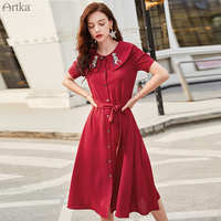 ARTKA 2019 Summer Women Dress Peter Pan Collar Embroidery Dress Vintage Red Dresses With Belt Short Sleeve Long Dress LA15997X