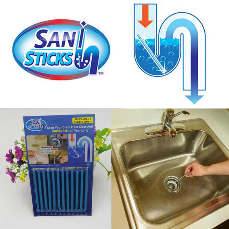 120Pcs/set Sani Sticks sewage decontamination to deodorant The kitchen toilet bathtub drain cleaner sewer cleaning rod