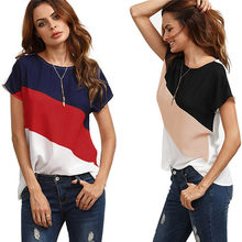 Summer Women Blouses 2018 New Casual Chiffon Silk Color Block blouse Short Sleeve O-neck Shirts For Ladies Jun2518(China)