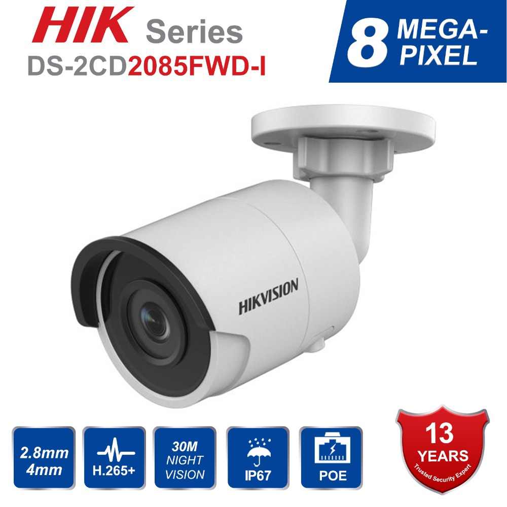 HIK Original English 8MP H.265 Bullet IP Camera DS-2CD2085FWD-I 3D DNR Network Security Camera with High Resolution 3840 * 2160