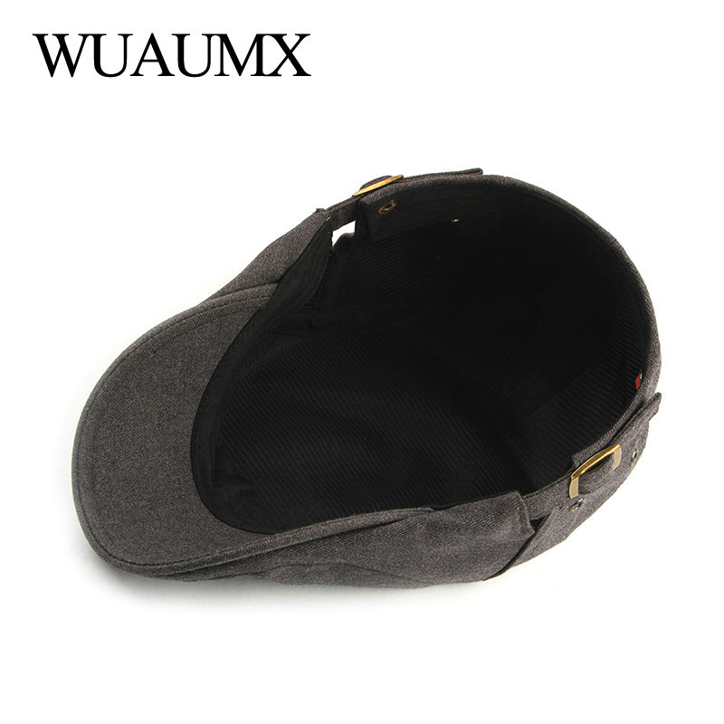 Wuaumx Unisex Berets Hats For Men Women Solid Color Herringbone Caps Newsboy Cap Cabbie Ivy Flat Hat Adjustable Drop Shipping in Men 39 s Berets from Apparel Accessories
