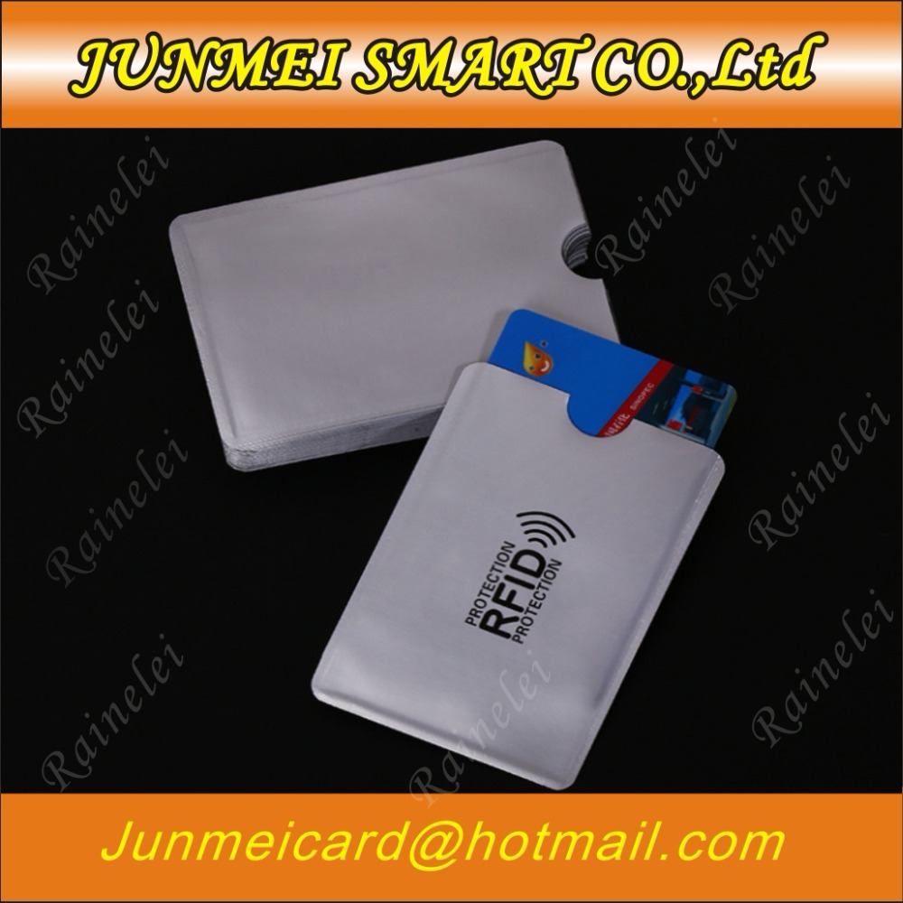 1000 pcs printed Anti Theft Credit Card Holder with passport holder Aluminum RFID Blocking Sleeve Protect