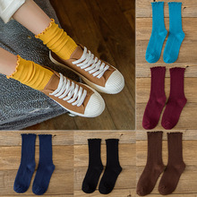 LNRRABC Female Socks Agaric Edge  10 Color Heap Medium Tube 1 Pairs Autumn and Winter High Quality Pure Cotton