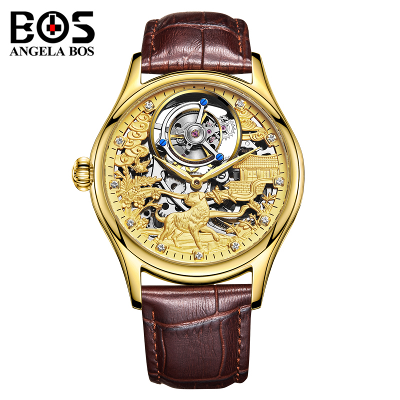 ANGELA BOS Luxury 3D Dog Mechanical Watch Men Waterproof Tourbillon Automatic Wristwatch Man Rose Gold Clock Montre Homme 2019ANGELA BOS Luxury 3D Dog Mechanical Watch Men Waterproof Tourbillon Automatic Wristwatch Man Rose Gold Clock Montre Homme 2019