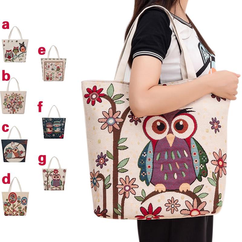 Canvas Cute Cartoon Floral Owls Print Shoulder Bag Retro Women Handbags Tote Big Capacity Shopping Bags 88 Best Sale-WTCanvas Cute Cartoon Floral Owls Print Shoulder Bag Retro Women Handbags Tote Big Capacity Shopping Bags 88 Best Sale-WT