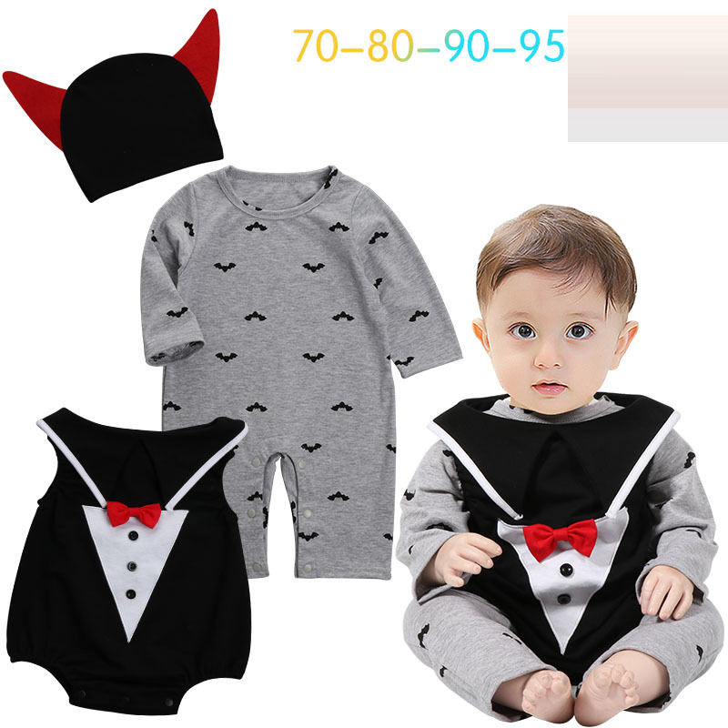 2 style Halloween Costume Pumpkin Baby Clothing Set 3pcs Romper pumpkin Vest Hat Infant Toddler Boys