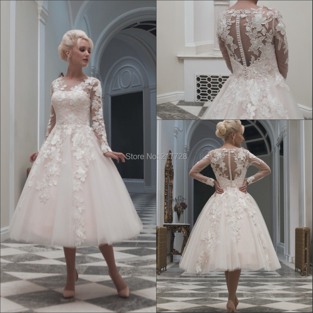 wedding dresses long sleeves vintage appliques tea length wedding gown