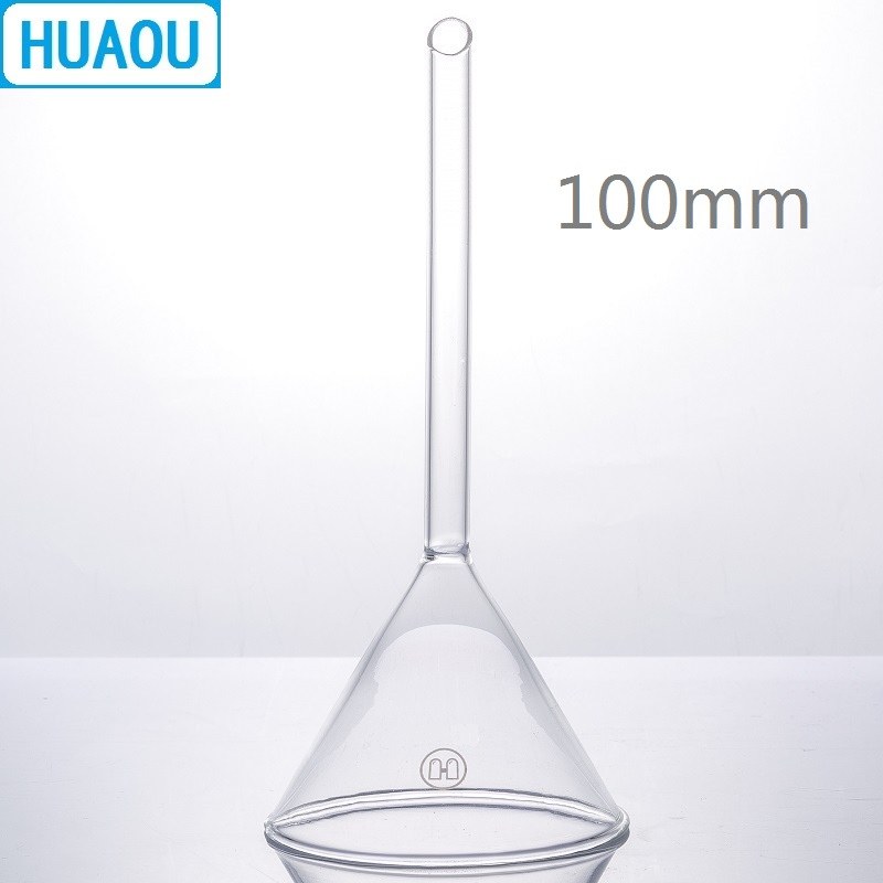 HUAOU 100mm Funnel Long Stem 60 Degree Angle Borosilicate 3.3 Glass Laboratory Chemistry Equipment