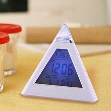 Multi function Digital 7 Color LED Pyramid Shaped Color LCD Snooze Despertador Weather Table Alarm Clock