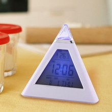 Multi function Digital 7 Color LED Pyramid Shaped Color LCD Snooze Despertador Weather font b Table