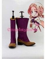 Пользовательские Фиолетовый Франции Косплэй Обувь Сапоги и ботинки для девочек от хеталия Косплэй для Хэллоуина Рождество