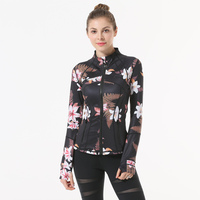 women Print Zipper Sport Jacket Fitness Yoga Jacket Running Coat Sport Jacket Gym Clothing Long Sleeve Sports Sweatershirt