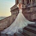 Robe de mariée Sexy Спинки Русалка Свадебные Платья Элегантный Кот Спагетти Ремень Милая Свадебные Платья с Тюль Поезд