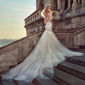 Robe de mariee Sexy Backless Sereia Vestidos de Casamento Elegante Do Marfim Spaghetti Strap Querida Vestidos de Casamento com Trem Tule