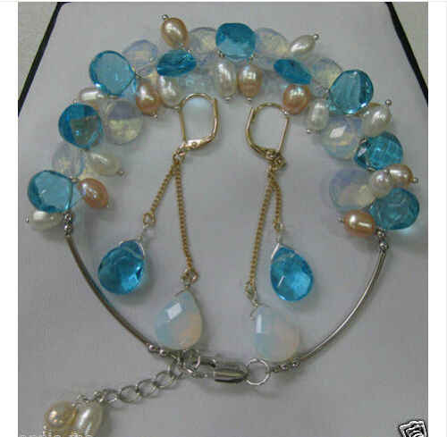 hot sell new - Beautiful tibet moonstone pearl bracelet earrings set bangle bead jewelry charm cabochon