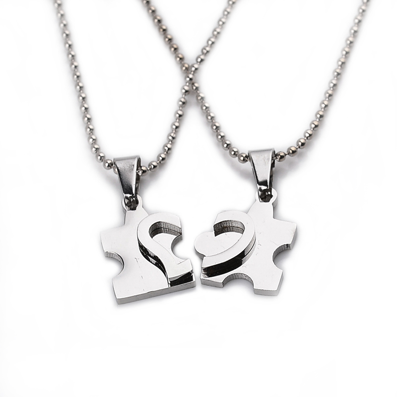 2016 new mens women couple jewelry jewelry heart puzzle for Best mens jewelry sites