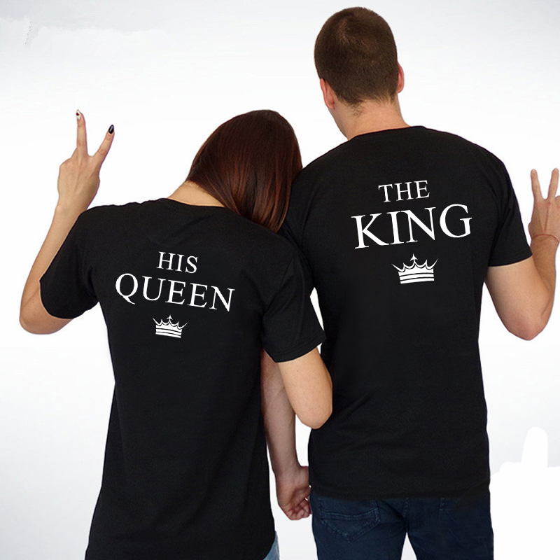 King Queen Couple Shirts Women Men Short Sleeve Casual Couple Lover T-shirt Anniversary Gift