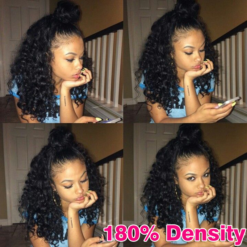 Indian Pre Plucked Natural Hairline Kinky Curly Full Lace Human Hair Wigs 180 Density Lace Front Human Hair Wigs For Black Women