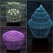 Table Lamp Bedroom Birthday Cake Lampara decorative lights gece lambasi Childrens Kids Baby Gifts Neon USB 3D LED Night Light